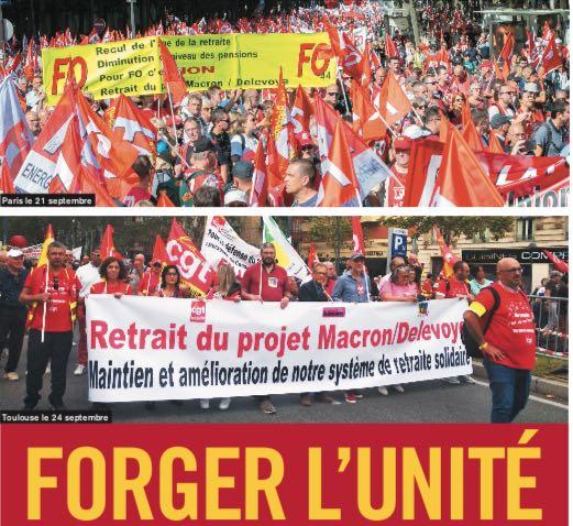 """Larencontrenationaledes comités pour l'unité du 12 octobre lance un appel <strong><em>""""L'unitédoit l'emporter ! Pourleretrait de la réforme Macron-Delevoye : préparons la grève !""""</em></strong>"""